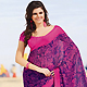 Purple and Pink Faux Georgette Saree with Blouse