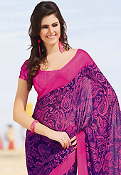 Try out this year top trend, glowing, bold and natural collection. This beautiful purple and pink faux chiffon saree is nicely designed with paisley print work. Beautiful print work on saree make attractive to impress all. It will enhance your personality and gives you a singular look. Matching blouse is available with this saree. Slight color variations are due to differing screen and photography resolution.