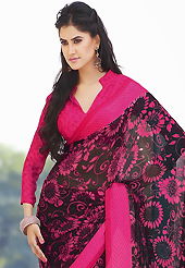 You can be sure that ethnic fashions selections of clothing are taken from the latest trend in today's fashion. This beautiful black and pink faux chiffon saree is nicely designed with floral and abstract print work. Beautiful print work on saree make attractive to impress all. It will enhance your personality and gives you a singular look. Matching blouse is available with this saree. Slight color variations are due to differing screen and photography resolution.