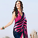 Pink, Dark Blue and Off White Brasso Faux Georgette Saree with Blouse