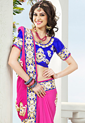 Make a trendy look with this classic embroidered saree. This dark pink viscose georgette saree have beautiful embroidery patch work which is embellished with resham and stone work. Fabulous designed embroidery gives you an ethnic look and increasing your beauty. Contrasting blue blouse is available. Slight Color variations are possible due to differing screen and photograph resolutions.