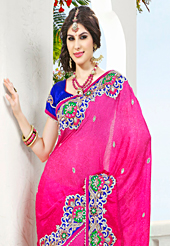 Elegance and innovation of designs crafted for you. This magenta viscose georgette saree have beautiful embroidery patch work which is embellished with resham, stone and beads work. Fabulous designed embroidery gives you an ethnic look and increasing your beauty. Contrasting royal blue blouse is available. Slight Color variations are possible due to differing screen and photograph resolutions.