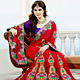Red Crepe Silk Saree with Blouse