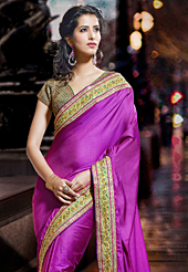 Dreamy variation on shape and forms compliment your style with tradition. This magenta silk saree have beautiful embroidery patch work which is embellished with resham and sequins work. Fabulous designed embroidery gives you an ethnic look and increasing your beauty. Matching blouse is available. Slight Color variations are possible due to differing screen and photograph resolutions.