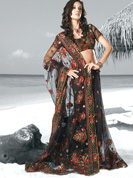 Vibrant collection of Floral Print faux georgette sarees.