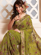 Vibrant Collection of Havey print and patch work faux georegette sarees