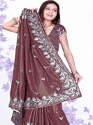 Ultimate collection resham embroidred and stone, seeds work chiffon sarees. With unstitched Blouse.