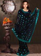 Stylish Designer sarees in chiffon with havey patch seeds work and embroidry work saree.