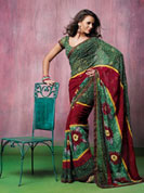 Ultimate collection with fabulous color print floral print soft chiffone sarees with unstitched blouse