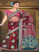 Be a centre of attraction with this net readymade saree embroidered with all over with chikankari work in a graceful pattern.