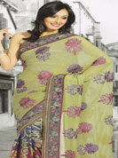 Explore your feminine self with this surprising saree. The main distinct feature of the saree is that it is made up of printed geogette and also some artistic thread work done on the saree completed that makes the saree totally unique from all others. The saree is suitable for parties and events.