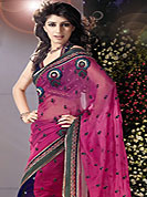 Adorable designer sarees with zari work on broder and sequence work matching blouse unstitched, slight color variation may be possible due to photographic resolution.