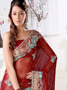Timeless and less less Shimmer adorn you formal and get perfection look in your formal party with this self printed traditional design. A Saree worked with Sequins, stone, valvet, and ribin work made stylish and fashionable. Slight Color variations possible due to differing screen and photograph resolutions.