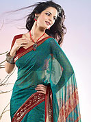 Be the cynosure of all eyes with this exquisite range of party wear sarees in flattering colors and combinations. This collection of printed georgette sarees ,flaunt your feminine grace and glamour in this smart and trendy wear collection of sarees. Slight Color variations possible due to differing screen and photograph resolutions.