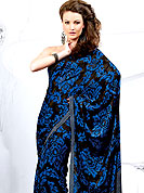 Elegance and innovation of designs crafted for you. This French jacquard saree is nicely designed with flattering color and amazing abstract floral print work. Color blend of this saree is cool and has a very modern look to impress all. The matching blouse made it fabulous. This saree is specially crafted for giving you ultimate look. Slight Color variations are possible due to differing screen and photograph resolutions.