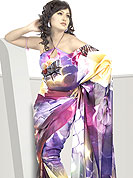 Designer Saree in material with French jacquard maintain the artistic look as well as present look. This saree is nicely designed with flattering color and amazing abstract floral print work. Color blend of this saree is cool and has a very modern look to impress all. The matching blouse made it fabulous. This saree is specially crafted for giving you ultimate look. Slight Color variations are possible due to differing screen and photograph resolutions.