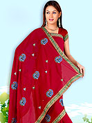Symbol of fashion and beauty, each piece of our range of embroidered saree is certain to increase your look.  This saree made with silk with georgette mix fabric. This saree have beautiful embroidery work on pallu and border. This saree is nicely designed with resham, zari and sitara work to give you pretty and singular look. The border of this saree is a symbol of elegance in its own. Matching blouse is available. Slight Color variations are possible due to differing screen and photograph resolutions.