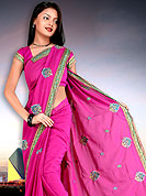 Outfit is a novel ways of getting yourself noticed.  This saree made with silk with georgette mix fabric. This saree have beautiful embroidery work on pallu and border. This saree is nicely designed with resham, zari and sitara work to give you pretty and singular look. The border of this saree is a symbol of elegance in its own. Matching blouse is available. Slight Color variations are possible due to differing screen and photograph resolutions.