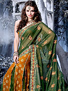 Enjoy this season with this georgette and brocade saree. This saree is nicely designed with floral embroidered border and butti done with resham and zari work. It's cool and has a very modern look to impress all. The matching blouse made it fabulous. This saree is specially crafted for giving you ultimate look. Slight Color variations are possible due to differing screen and photograph resolutions.