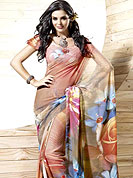 Elegance and innovation of designs crafted for you. This Faux georgette saree has a beautiful floral abstract print work with awesome color blend. This saree give you a singular and attractive look everywhere. Matching blouse is available with this saree. Slight Color variations are possible due to differing screen and photograph resolutions.