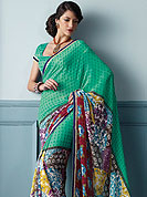 Symbol of fashion and beauty, each piece of our range of printed saree is certain to increase your look. This beautiful and pretty printed saree nicely designed with Stylish floral pattern. The saree is specially crafted for your stunning look and terrific style. This saree material is georgette. Matching Blouse is available. Slight color variations are possible due to differing screen and photograph resolution.