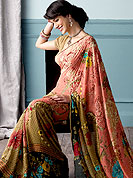 Try out this year top trends, glowing, bold and natural collection. This beautiful and pretty printed saree nicely designed with Stylish floral pattern. The saree is specially crafted for your stunning look and terrific style. This saree material is georgette. Matching Blouse is available. Slight color variations are possible due to differing screen and photograph resolution.
