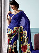 Elegance and innovation of designs crafted for you. This beautiful and pretty printed saree nicely designed with Stylish abstract art and floral pattern. The saree is specially crafted for your stunning look and terrific style. This saree material is georgette. Matching Blouse is available. Slight color variations are possible due to differing screen and photograph resolution.