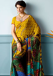 Emblem of fashion and beauty, each piece of our range of printed Saree is certain to enhance your look as per today's trends. This beautiful and pretty printed saree nicely designed with Stylish floral pattern. The saree is specially crafted for your stunning look and terrific style. This saree material is georgette. Matching Blouse is available. Slight color variations are possible due to differing screen and photograph resolution.