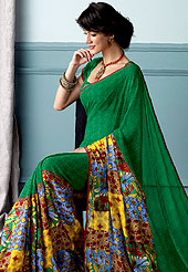 Bold colors created by the inventive drapes of textile catch the imagination like no other contemporary clothing. This beautiful and pretty printed saree nicely designed with Stylish floral pattern. The saree is specially crafted for your stunning look and terrific style. This saree material is georgette. Matching Blouse is available. Slight color variations are possible due to differing screen and photograph resolution.