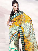 You can be sure that ethnic fashions selections of clothing are taken from the latest trend in today's fashion. This yellow and off White faux georgette saree is beautifully encrafted with resham, zari, cutdana and patch work in floral patterns. As shown blouse can be made possible and also can be customized as per your style subject to fabric limitation.  Slight color variations are possible due to differing screen and photograph resolution.