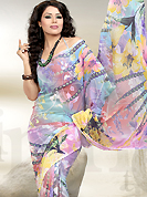 The evolution of style species collection spells pure femininity. This georgette saree is nicely designed with abstract floral print work while using multicolor and fabulous style. Colors are highlighting the beauty of saree. It's a perfect casual wear saree. Matching blouse gives a perfect finish to the entire saree. Slight Color variations are possible due to differing screen and photograph resolutions.