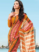 Different colors are a perfect blend of traditional Indian heritage and contemporary artwork. This saree crafted with nice combination of leafs, strips, geometrical art print in multi shades which made it attractive and unique to others. Border of saree is nicely designed with piping work. The saree is specially crafted for your stunning look and terrific style with this matching blouse. This saree made with georgette fabric. Slight Color variations are possible due to differing screen and photograph resolutions.