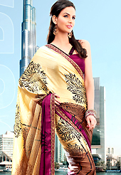Dreamy variation on shape and forms compliment your style with tradition. This saree is nicely designed with beautiful print work in floral and strips pattern. Shades of saree made it attractive and unique to others. Border of saree is nicely designed with piping work. The saree is specially crafted for your stunning look and terrific style with this matching blouse. This saree made with georgette fabric. Slight Color variations are possible due to differing screen and photograph resolutions.
