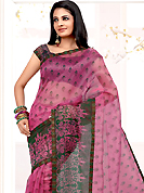 Ultimate collection of printed sarees with fabulous style. This Pink net printed casual wear saree have beautiful floral butti print work on all over. Border has amazing contrasting fabric lace. It's cool and has a very modern look to impress all. Matching blouse is available.  Slight Color variations are possible due to differing screen and photograph resolutions.
