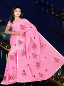 Georgette printed Saree with thread work and all Saree boota and silver border