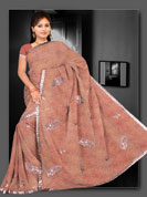 Georgette printed Saree with sequins antic work and lace border