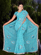 Georgette printed Saree with sequins and thread work all Saree boota with silver lace border