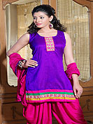Designer Salwaar Kameez in  Row Silk with summer friendly salwar kameez. Slight Color variations possible due to differing screen and photograph resolutions.