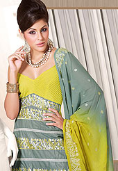 Emblem of fashion and beauty, each piece of our range of embroidered Suits is certain to enhance your look as per todays trends cotton churidar kameez worked embroidery all over the suit. A matching churidar and bemberg dupatta are enhanced your personality. This suit is specially made for your stunning look. Slight Color variations possible due to differing screen and photograph resolutions.