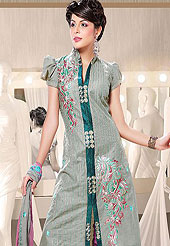 Designer Suit in material  with chanderi  worked with embroidery on border and beautiful work on all over the suit.  Its cool and have a very modern look to impress all. Try out this years top trends, glowing, bold and natural collection. This suit is crafted for giving you ultimate look. Slight Color variations possible due to differing screen and photograph resolutions.