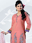 Be the cynosure of all eyes with this wonderful casual wear salwar kameez in flattering colors and combinations. This Amazing kameez adorned with floral embroidery work and cotton lace border on bottom and sleeves. This awesomely designed pattern give's you a gorgeous and dissimilar look everywhere. Combination of white foliage printed salwaar and dupatta gives a casual look. Slight Color variations are possible due to differing screen and photograph resolutions.