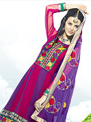 Emblem of fashion and beauty, each piece of our range of embroidery Suits is certain to enhance your look as per today's trends. This classic red-purple suit is fascinating. Kameez have nicely designed with resham embroidery border and patch work. Stylish neck is eye catching to impress all. Matching heavy floral embroidery dupatta and salwaar gives a perfect finish to the entire suit. Slight Color variations are possible due to differing screen and photograph resolutions.