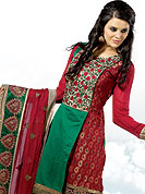 Let your personality articulate for you with this designer embroidery suit. This maroon chanderi print Kameez is embellished with stylish embroidered neck pattern done with resham threads. And border patch work on bottom make attractive. Matching churidar and dupatta made it attractive and unique to others. Slight Color variations are possible due to differing screen and photograph resolutions.