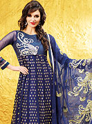 Be ready to slip in the comfort zone of blue georgette suit. The dazzling kameez have amazing floral embroidered work done with resham, zari and grave embroidered border. Paired with matching dupatta and churidar, the entire ensemble makes an excellent wear. Slight Color variations are possible due to differing screen and photograph resolutions.