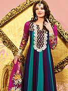 Motivate your look with this blue-magenta suit. This suit adorns with embroidery border work. Beautiful embroidery done with resham threads on kameez which is enhanced your personality. Stylish chandery print pattern on neck is stunning and give's a singular look. Matching churidar and dupatta is available with this. Slight Color variations are possible due to differing screen and photograph resolutions.