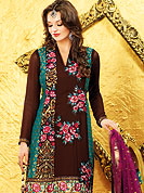 Emblem of fashion and beauty, each piece of our range of embroidery Suits is certain to enhance your look as per today's trends. This classic brown-sky blue suit is fascinating with chanderi print. Kameez is nicely designed with resham embroidery border and floral patch work. Contrasting dupatta is eye catching to impress all. Matching dupatta and salwaar gives a perfect finish to the entire suit. Slight Color variations are possible due to differing screen and photograph resolutions.