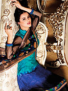 Fantastic black-blue suit embellished with embroidery with matching churidar and dupatta. Amazing duppata adorned with zari and resham floral embroidery work. Combination of colors and embroidery border on kameez made very pretty and enhanced your personality. Outfit is a novel ways of getting yourself noticed. A matching churidar and embellished dupatta is available. Slight color variations are possible due to differing screen and photograph resolutions.