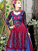 Create a center of all attentions with this net suit with net dupatta. This stunning suit adorns with floral embroidery work. Beautiful embroidery done with reshams threads and zari work on kameez which is enhanced your personality. Stylish pattern on neck is startling and give's a singular look. Matching churidar and dupatta is available with this. Slight Color variations are possible due to differing screen and photograph resolutions.