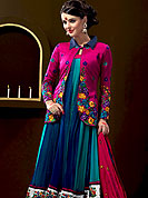 Make a trendy look with this classic Bright Pink, Blue embroidery suit with dupatta. This plain duo shaded kameez having a embroidered border and amazing long coati nicely designed with floral embroidery with resham threads. Matching churidar and dupatta made it attractive and exclusive to others. Slight Color variations are possible due to differing screen and photograph resolutions.