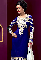 It is color this season and bright shaded suits are really something that is totally in vogue. An amazing Royal Blue, White suit with beautifully work of resham embroidery on kameez and sleeves with border. Matching churidar and dupatta also beautified with embroidery. Slight color variations are possible due to differing screen and photograph resolutions.